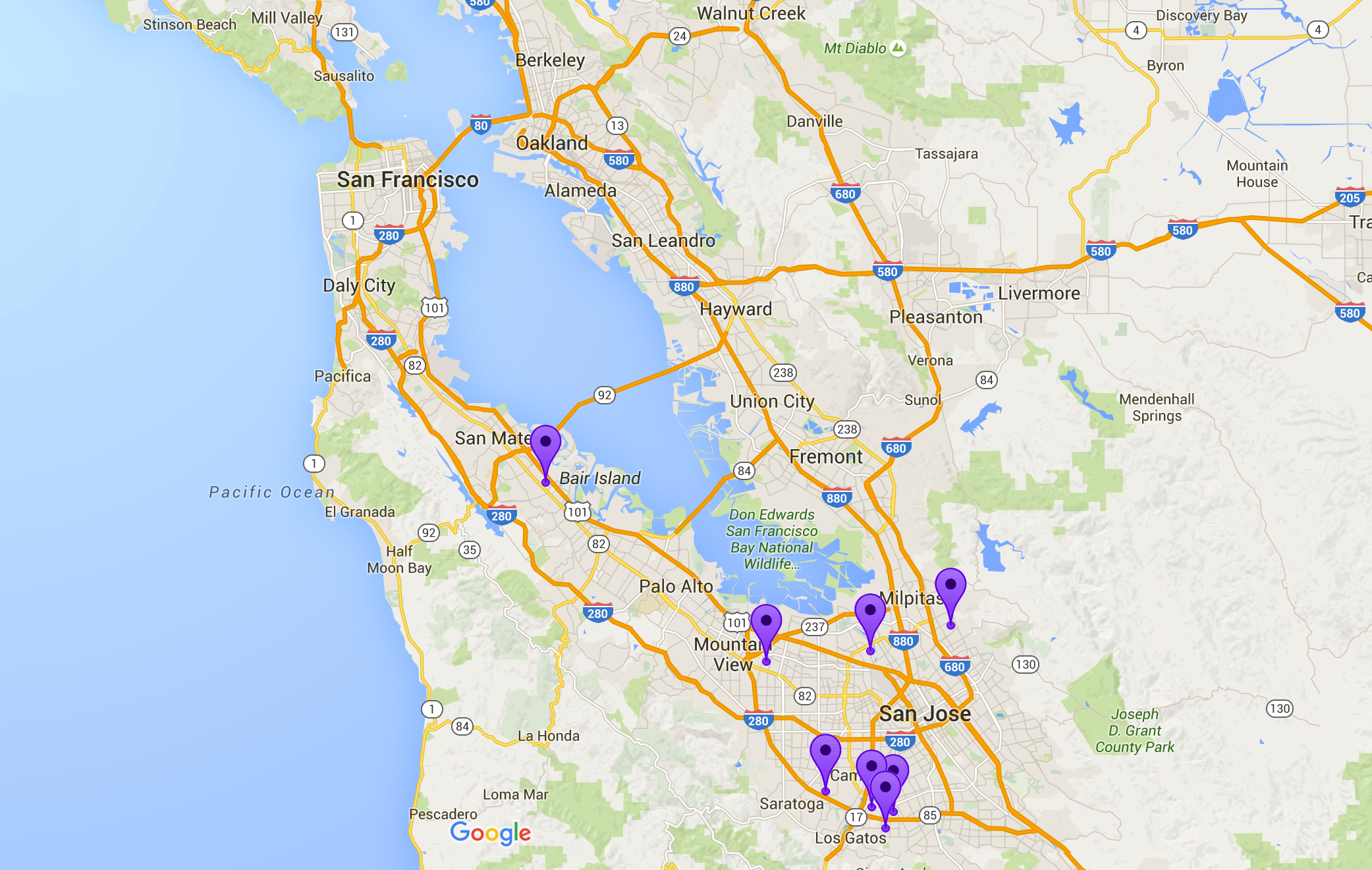 Bay Area map with BAWSI GIrls sites